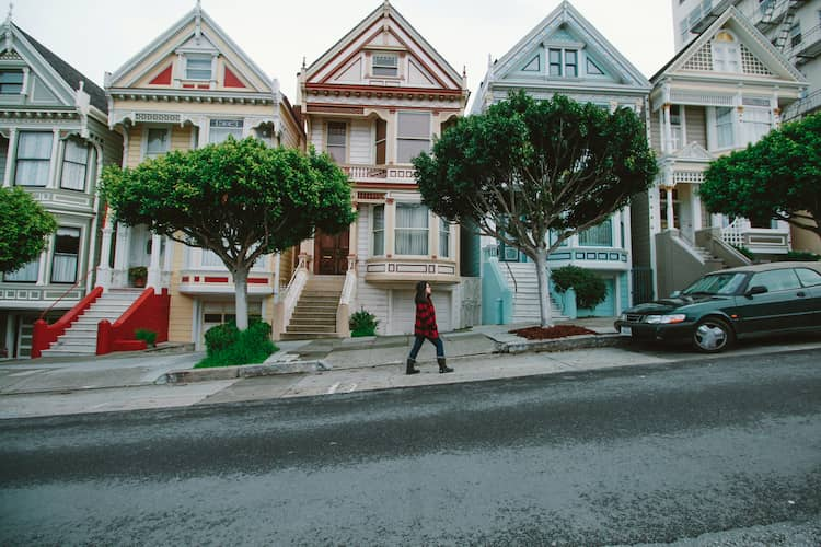 Photo of San Francisco painted ladies houses.