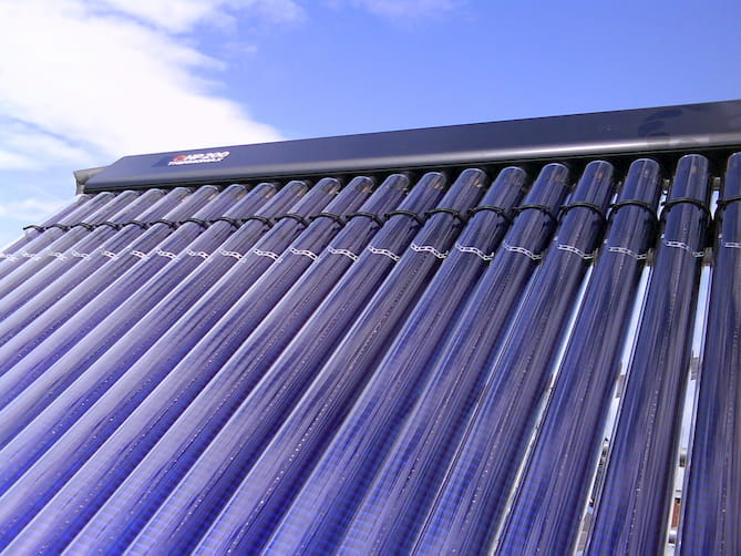 Photo of evacuated tube solar thermal collector.