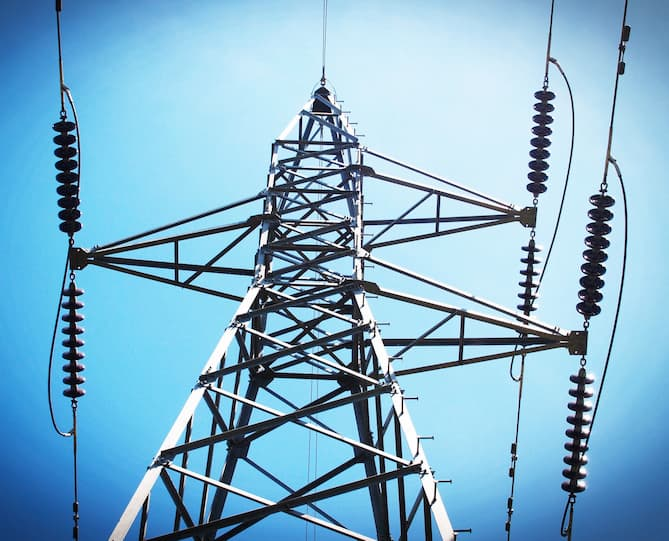 Photo of an electricity transmission tower.