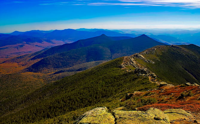 Photo of the White Mountains in New Hampshire.