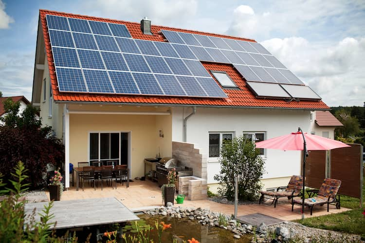 Photo of a home with REC solar panels
