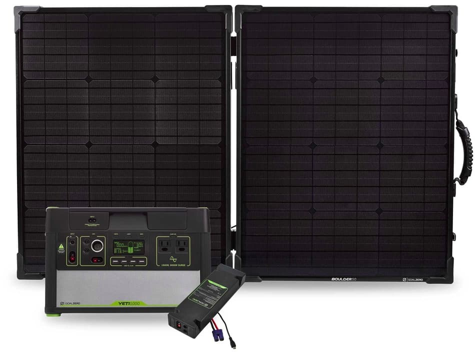 Photo of a Goal Zero solar kit with power station/battery storage.