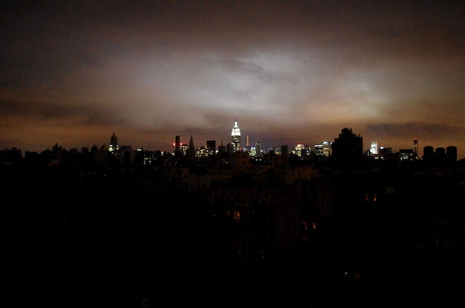 Photo of a city during a blackout.