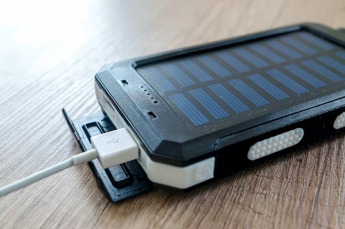 Photo of a portable solar phone charger.