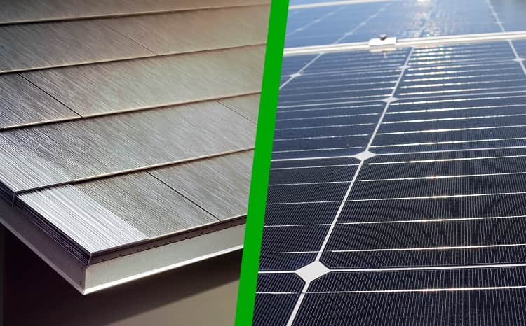 Photo of six different examples of solar shingles.