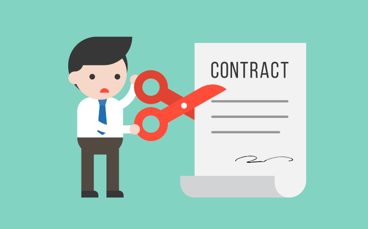Illustration of a person cutting a contract