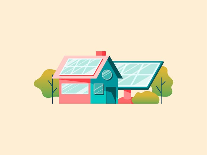 Illustration of a house with rooftop and ground mounted solar panels.
