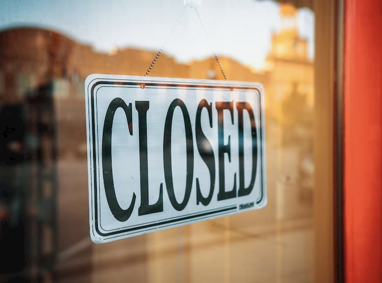 Photo of a closed business.