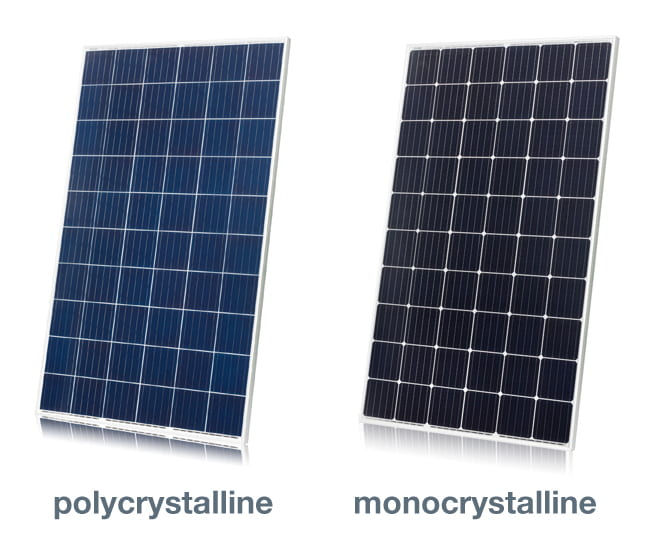 Example of polycrystalline and monocrystalline solar panels.